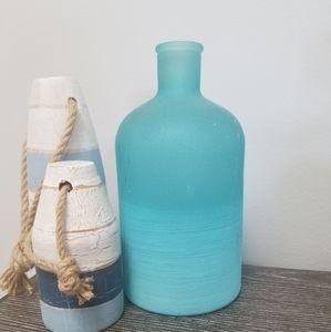 "8"" Sea Glass Blue Vase"
